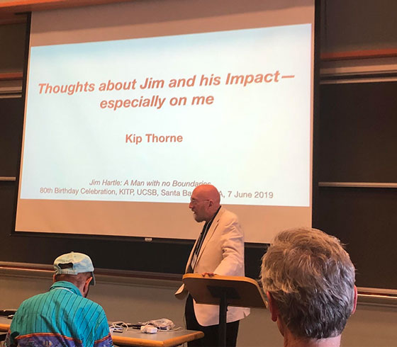 Nobel winner Kip Thorne shares some aspect of Jim Hartle's impact on physics (Source: Palmia Observatory)