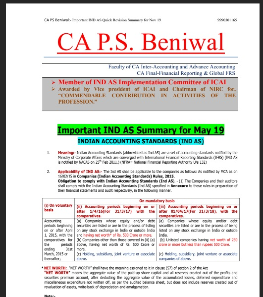 Download CA Final Paper 1 - FR  - Ind As Summary