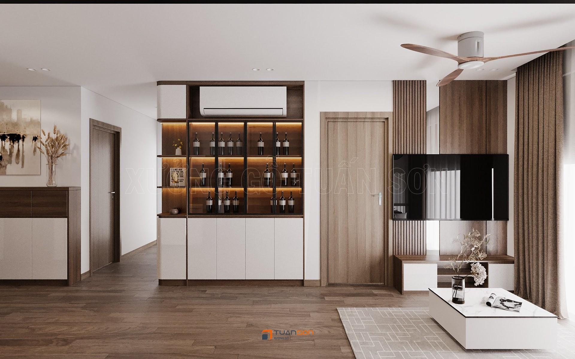 Thiết kế phòng khách phong cách tối giản sang trọng Vinhomes Ocean Park