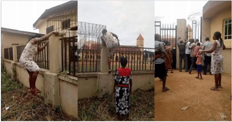 Viral Photos Of A Mother Who Jumped School Fence To Pick Up Her Kid Over Monkeypox Rumors (Photos)