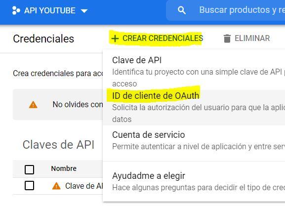 crear ID Cliente OAUTH