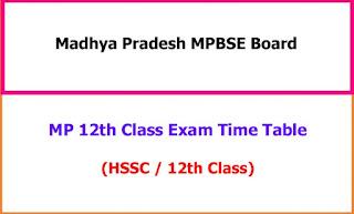 Madhya Pradesh 12th Class Exam Time Table 2021