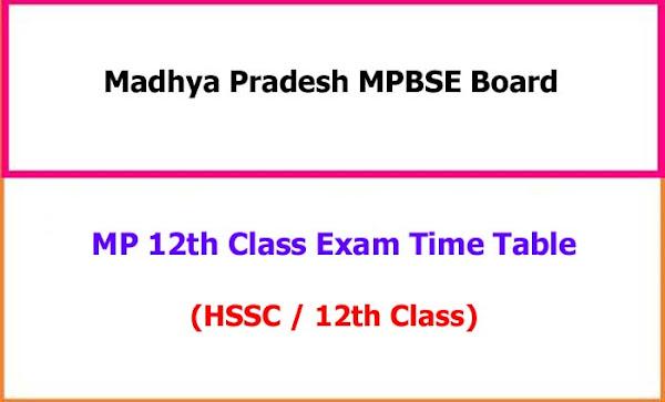 Madhya Pradesh 12th Class Exam Time Table