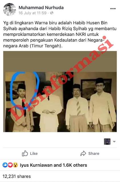 Hoax Yg di lingkaran Warna biru adalah Habib Husen Bin Syihab ayahanda dari Habib Riziq Syihab