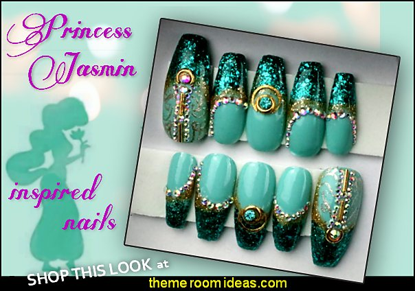 Princess Jasmin inspired press on nail set disney princess jasmine nail decoraring jasmine nails