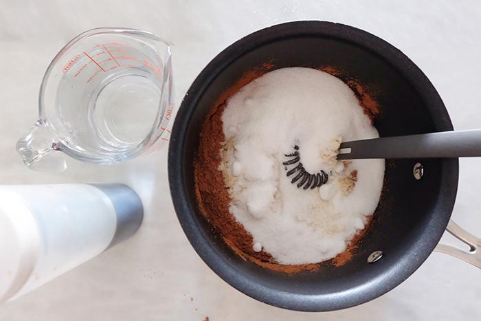 dry ingredients in saucepan