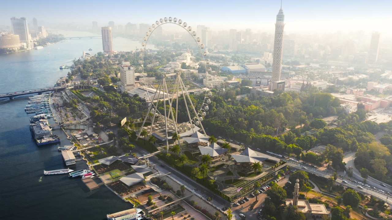 Cairo eye will be the first rotating wheel in Cairo and the largest in Africa, with a height of 120 meters, and its location on the Nile will be launched in 2022.