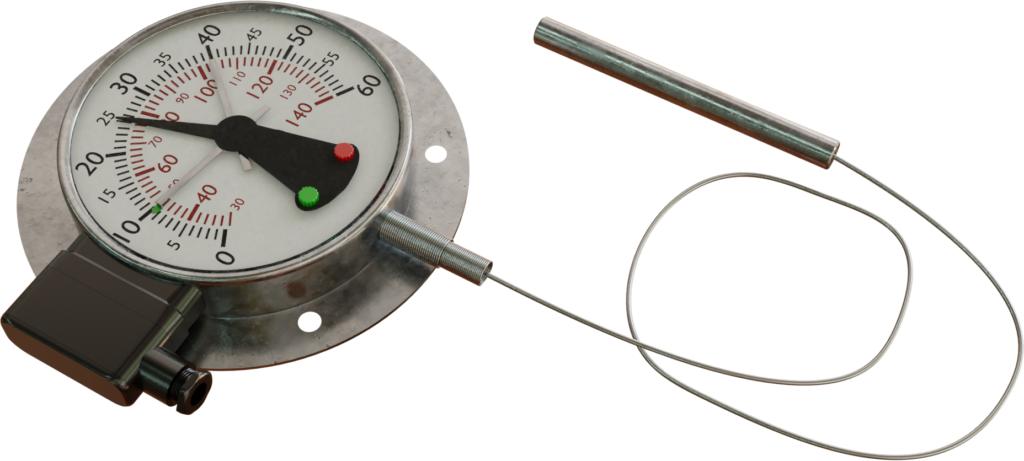 Termometer berisi cairan dengan kontak sakelar