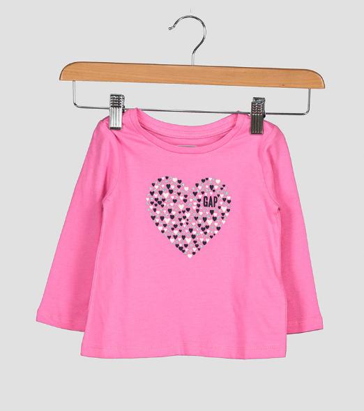 Bluza de fete roz cu impimeu inimioara