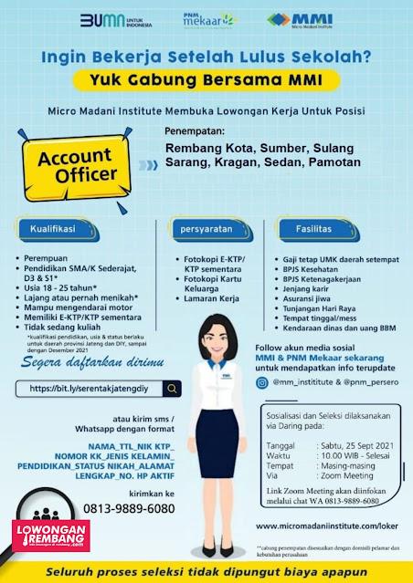 Lowongan Kerja BUMN Micro Madani Institute PNM Mekaar Rembang Minimal SMA Sederajat