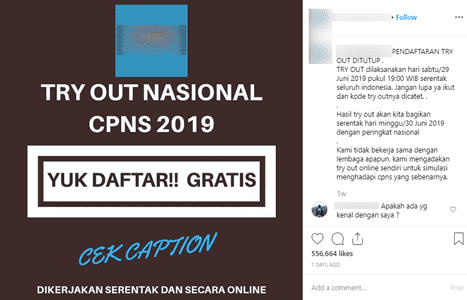 viral hoax ajakan try out gratis cpns nasional