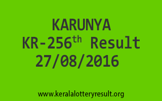 27-08-2016 SATURDAY KARUNYA KR-256 KERALA LOTTERY RESULTS