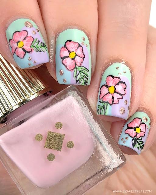 Tropical Floral Nail Art 25 Sweetpeas