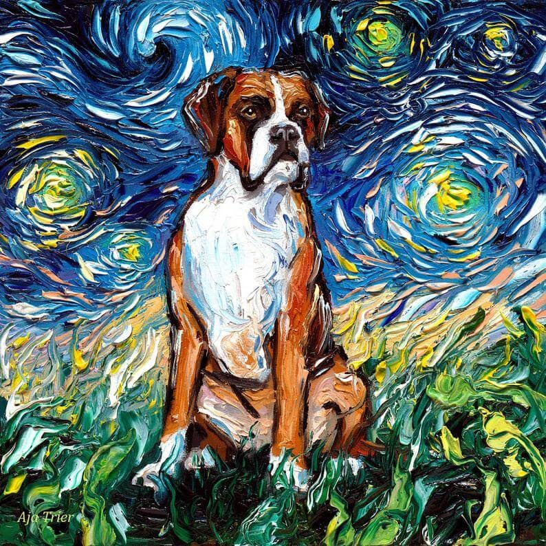 06-Boxer-Aja-Trier-The-Starry-Night-Dog-Paintings-www-designstack-co