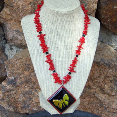 dichroic butterfly necklace with red coral and black onyx