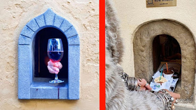 Pictures of two wine windows.