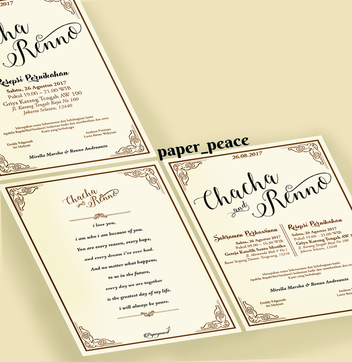 Paperpeace: Wedding Invitation For Ms. Chacha & Mr.Renno