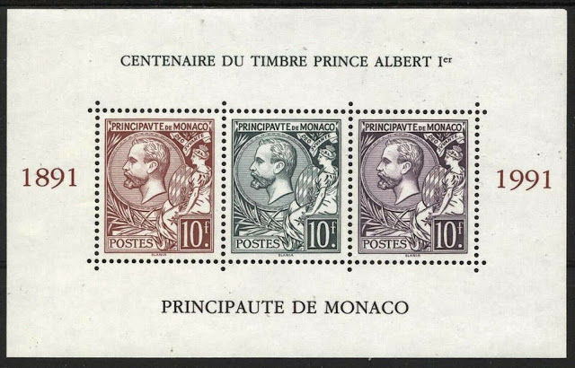 Monaco 1991 Prince Albert I Issue Sheet