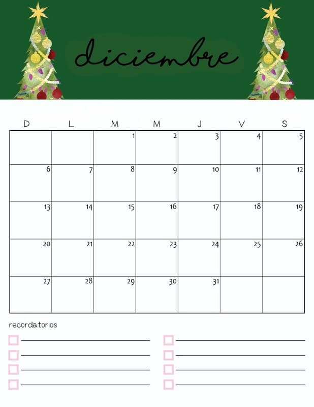 Calendario colorido 2020 de diciembre gratis