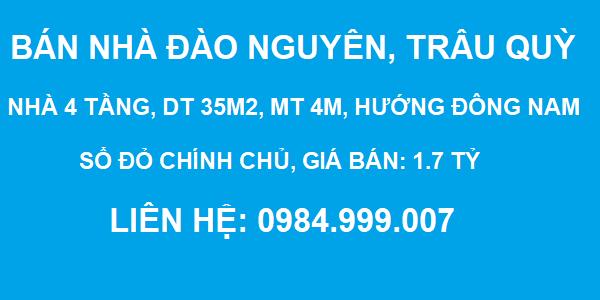Bán nhà đường Đào Nguyên, Trâu Quỳ, 4 tầng, DT 35m2, MT 4m, 3PN, 1.7 tỷ, 2020
