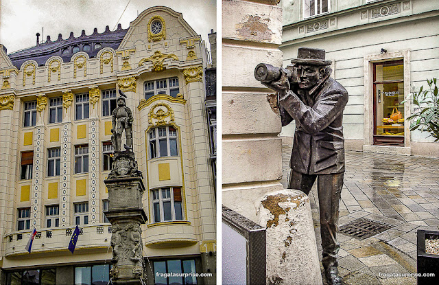 Centro Histórico de Bratislava e escultura do paparazzo