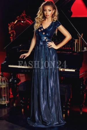 rochie de seara lunga, de un albastru vibrant, cu slipiri fermecatoare