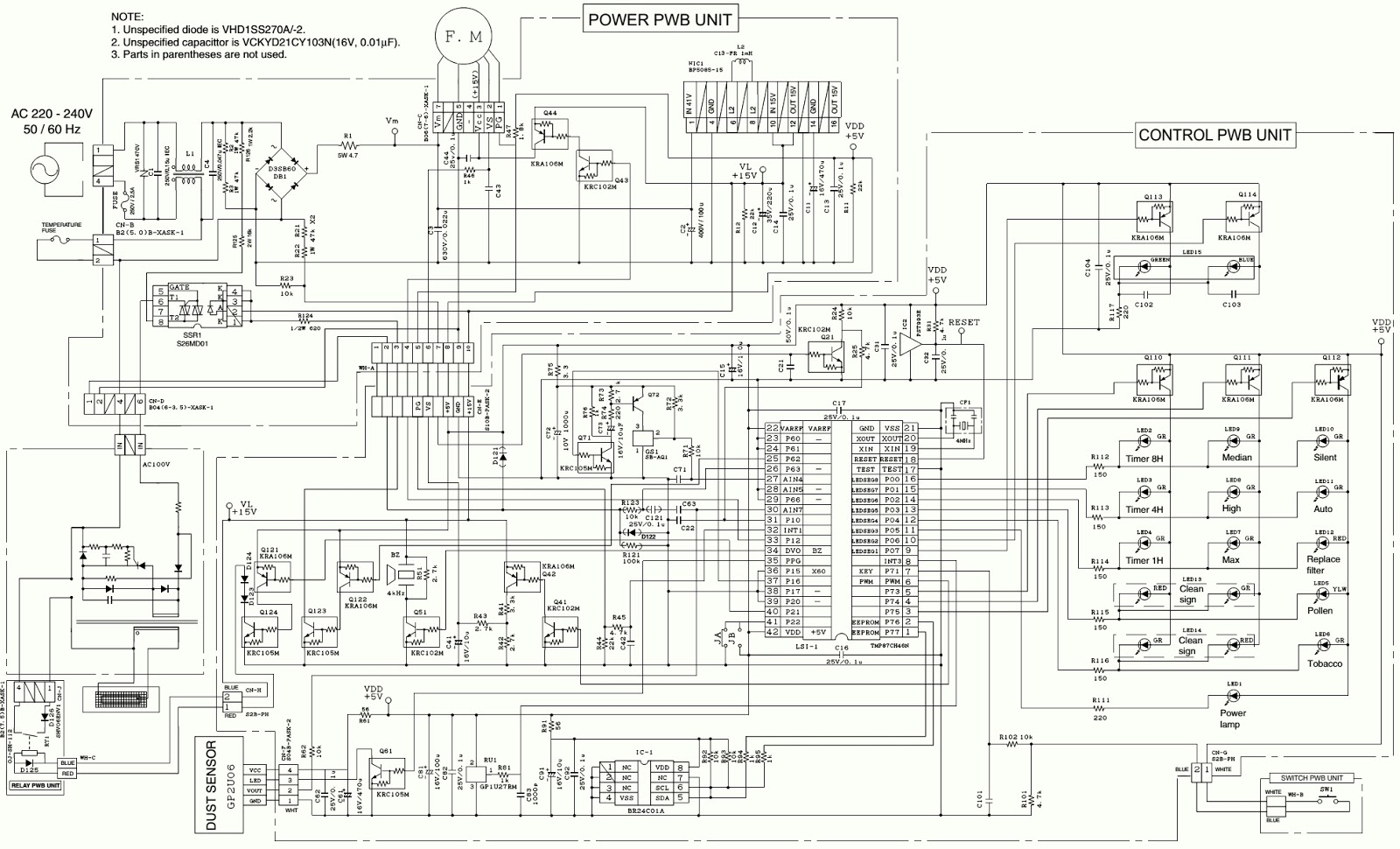 Sharp AIR PURIFIER FU40SEK – Disassembly – Circuit
