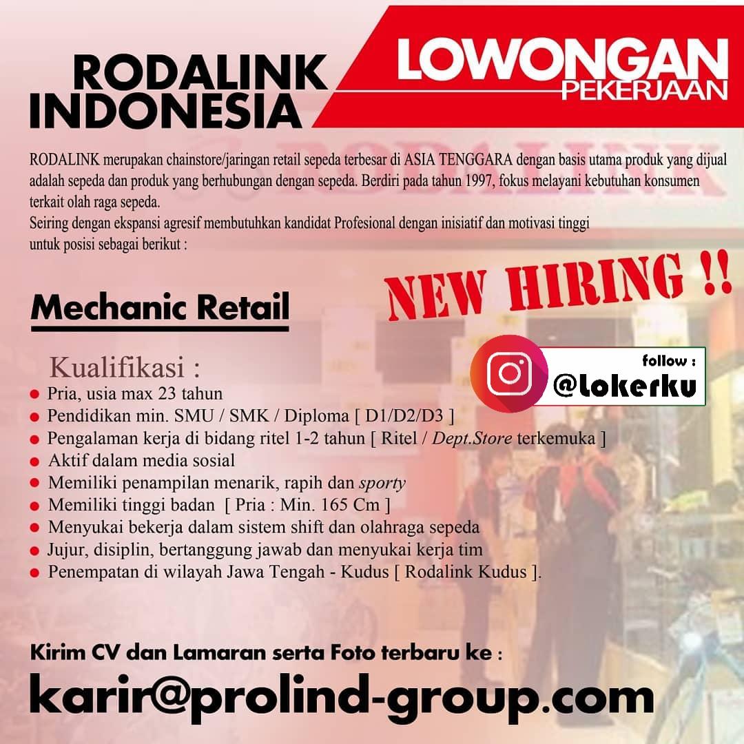 Loker Kudus Kerja Dibutuhkan Admin Sales dan mekanik retail di Rodalink kudus
