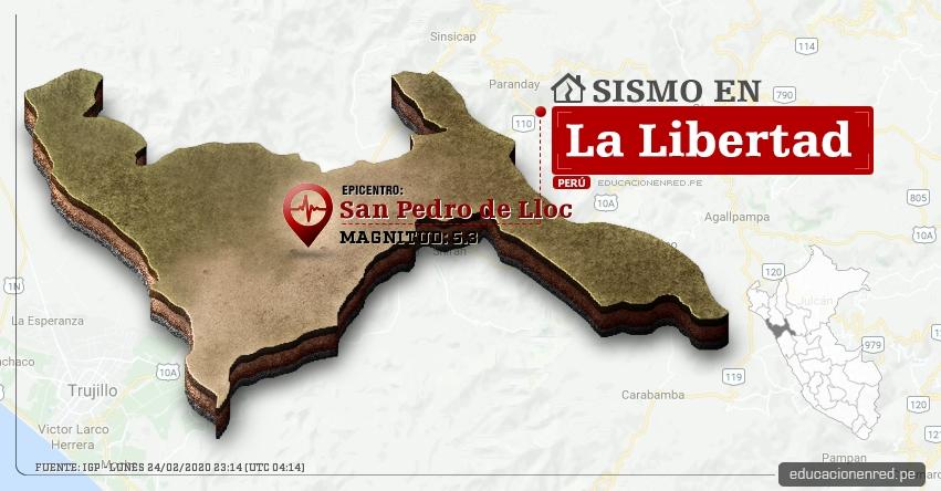 Temblor en La Libertad de Magnitud 5.3 (Hoy Lunes 24 Febrero 2020) Terremoto - Sismo - Epicentro - San Pedro de Lloc - Pacasmayo - IGP - www.igp.gob.pe