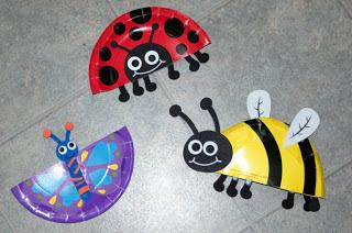 Бабочка, пчелка и божья коровка из одноразовых тарелок.