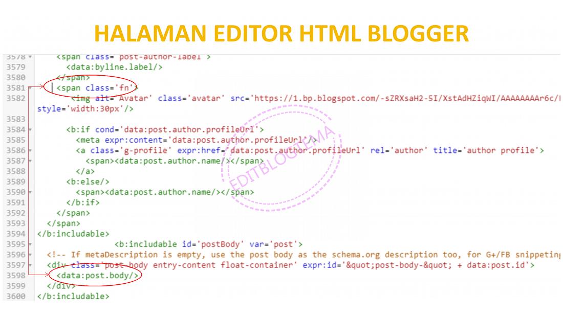 posisi kode pada halaman editor HTML blogger