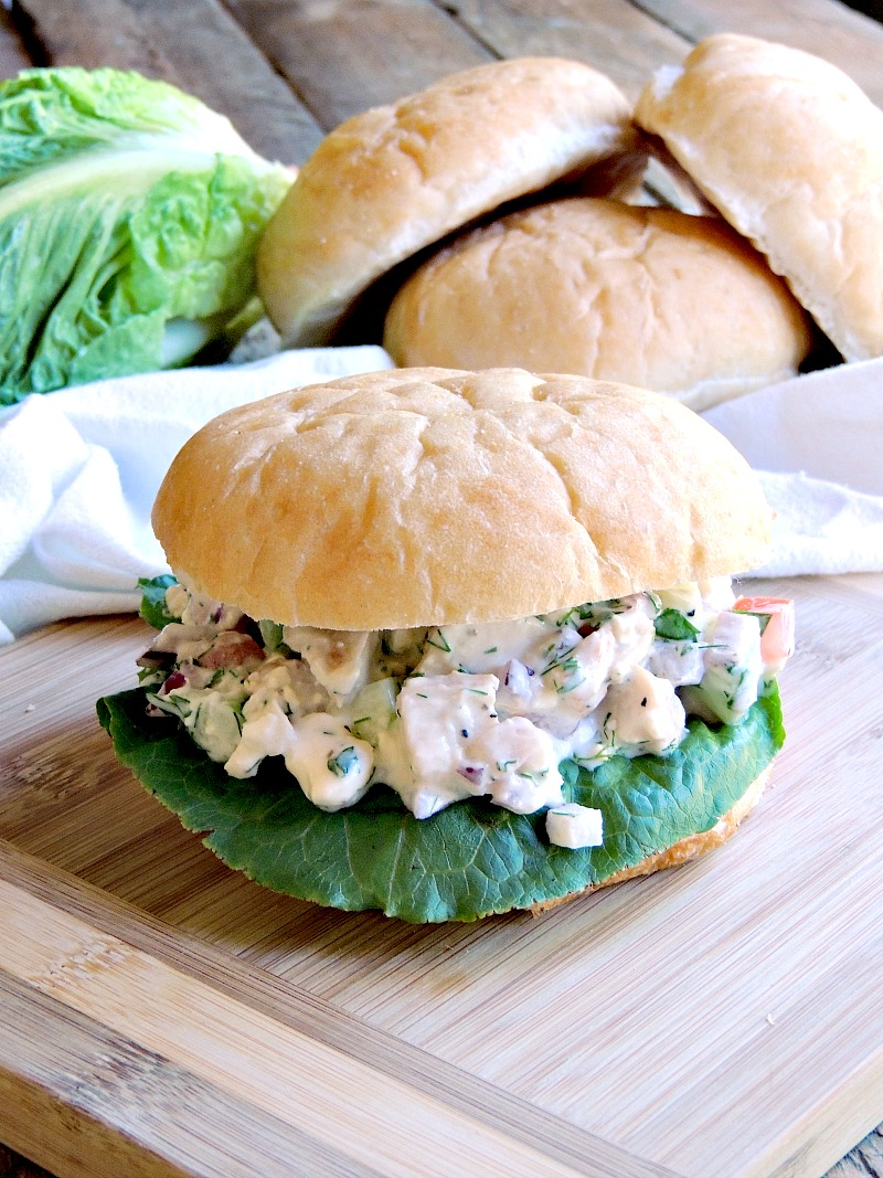 Greek Chicken Salad Sandwiches With fresh cucumber, tomato, and onion, plus ZERO mayo, this is a chicken salad that you can feel good about serving to your family! #Greek #chicken #salad #sandwich #healthy #lowcarb #keto #recipe | bobbiskozykitchen.com