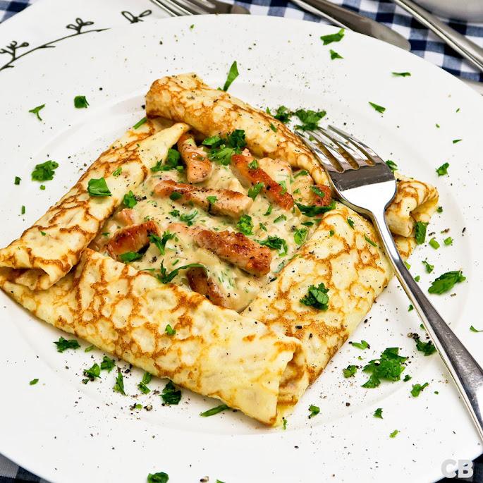 Recept Flensjes met kalkoenreepjes in romige wittewijnsaus