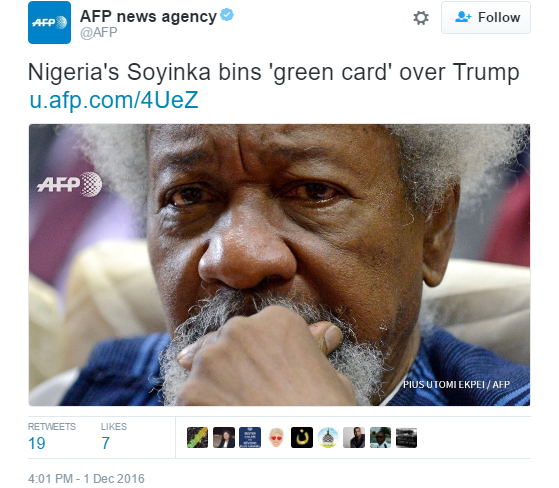 Did Fake News On Facebook Win Trump The Election That S: Wole Soyinka Reportedly Fulfills Promise To Tear US 'green