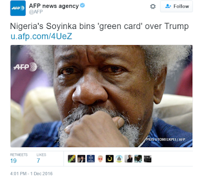 Wole Soyinka reportedly fulfills promise to tear US 'green card' over Donald Trump's election win