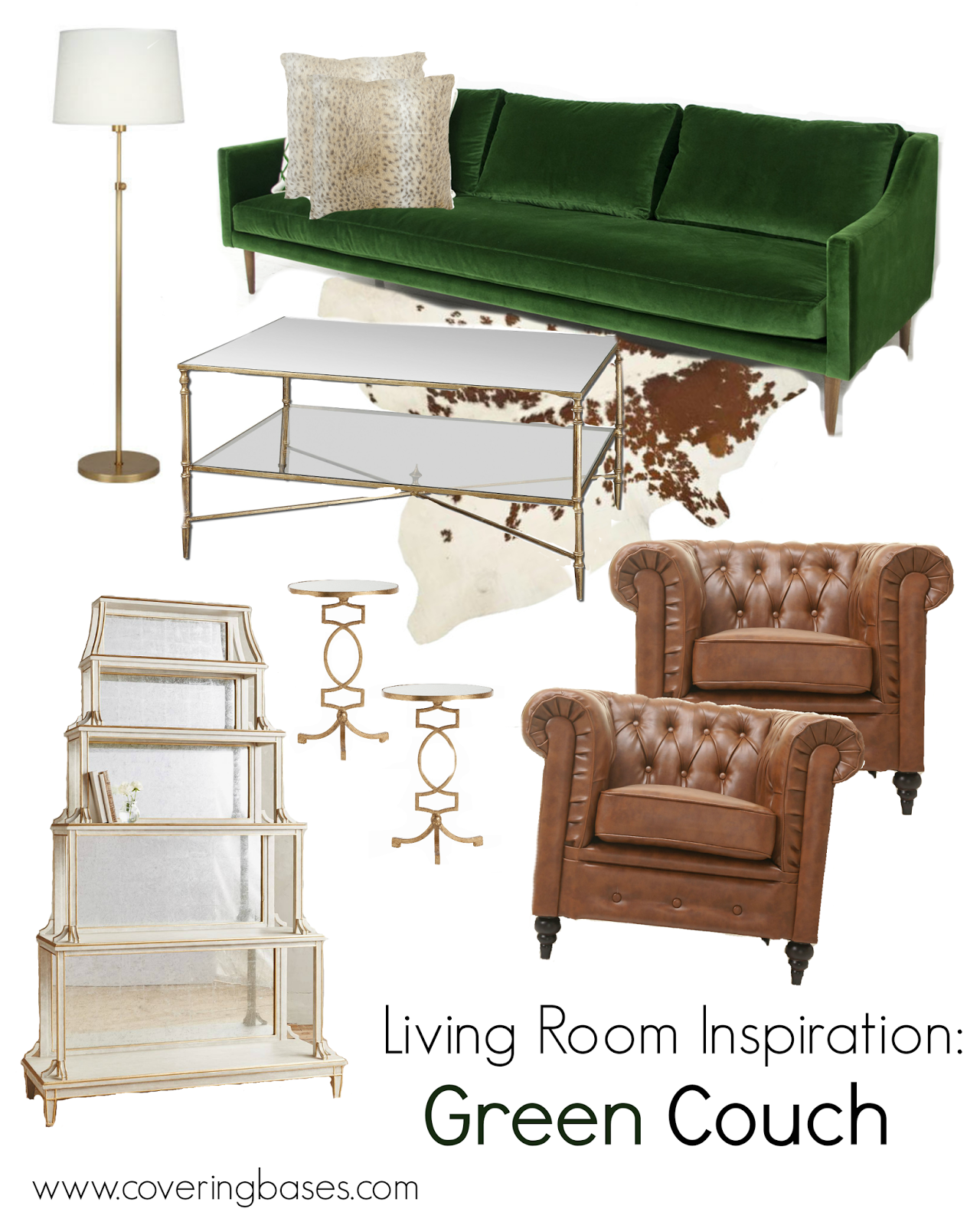 Living Room Decor, Green Velvet Couch