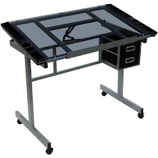 mesa declinable de acero cristal