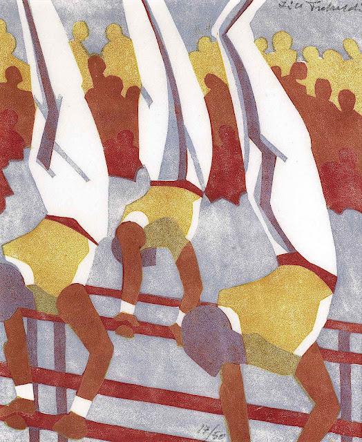 a Lill Tschudi linocut print of balacing athletes