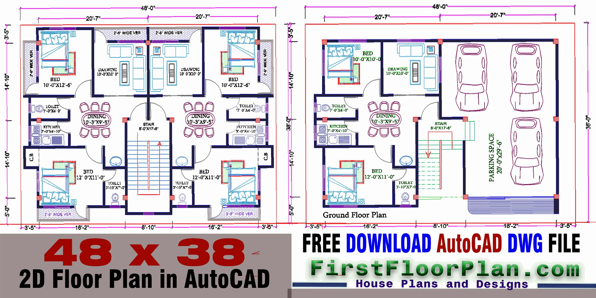 2D Floor Plan in AutoCAD with Dimensions | 38 x 48 | DWG and PDF File Free Download