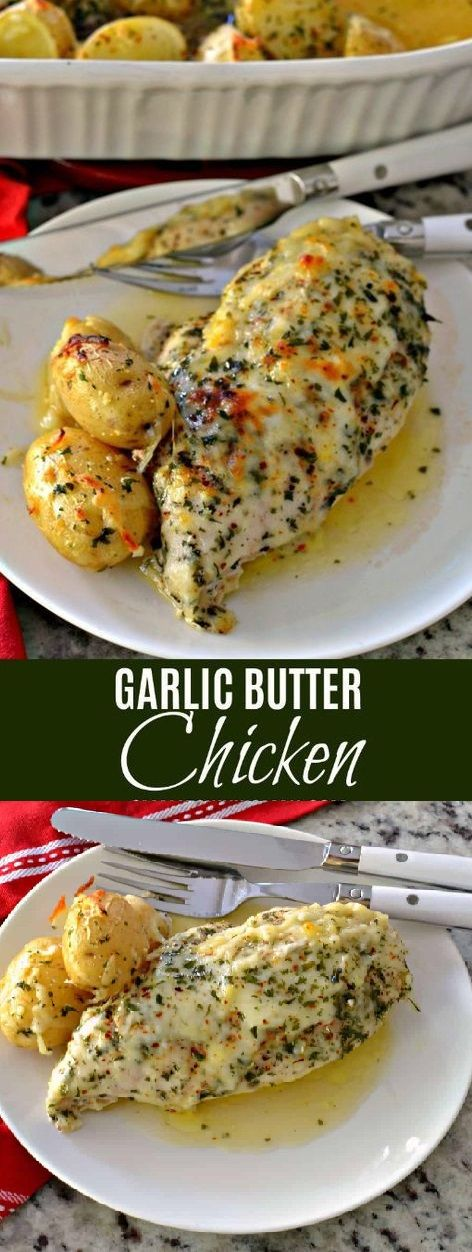 Garlic Butter Chicken is a family friendly easy recipe that combines chicken breasts and baby potatoes with fresh garlic, butter and mozzarella.