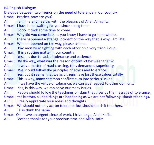 """""""BA English Dialogues""""BSc English Dialogues""""BA English Dialogue on Tolerance""""Bsc English Dialogue on Tolerance"""""""