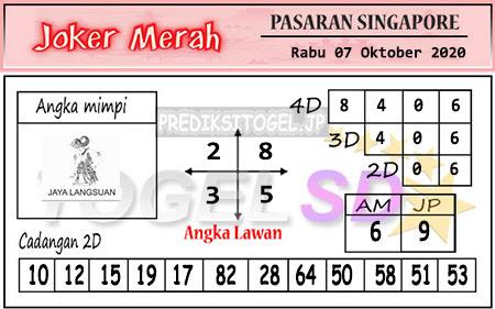 Pred Joker Merah SGP Rabu 07 Oktober 2020