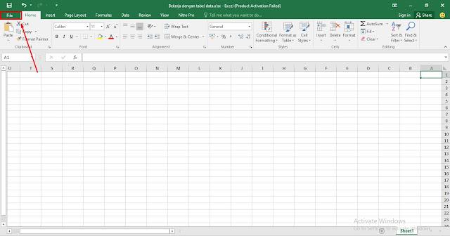 Masuk ke Menu File - Cara Merubah Arah Kolom dan Baris Kiri Kekanan di Microsoft Excel - Ladangtekno