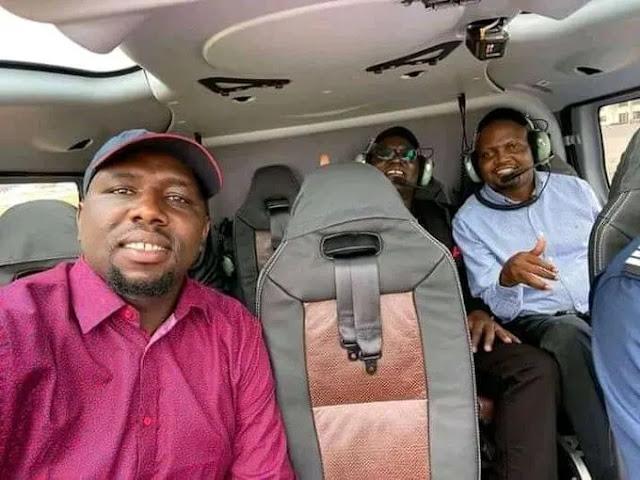 Senator Kipchumba Murkomen given a lift by Hon. Moses Kuria to attend BBI rally at Kinoru, Meru. PHOTO | BMS