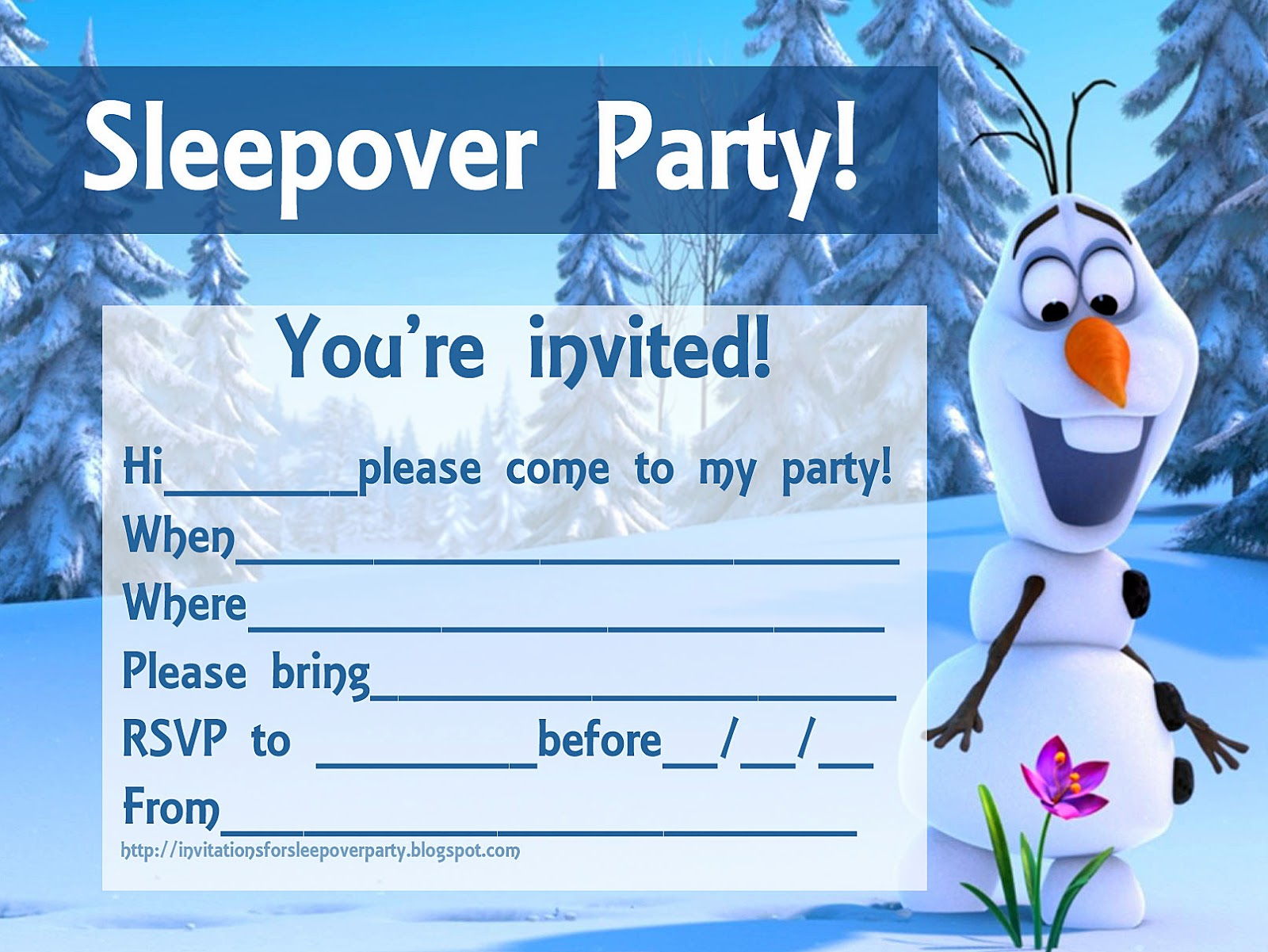 Frozen Party Invitations Free