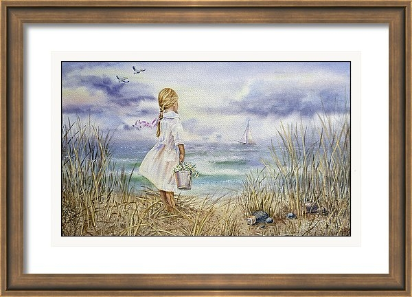 Bestselling Watercolor Painting of Girl And The Ocean Irina Sztukowski