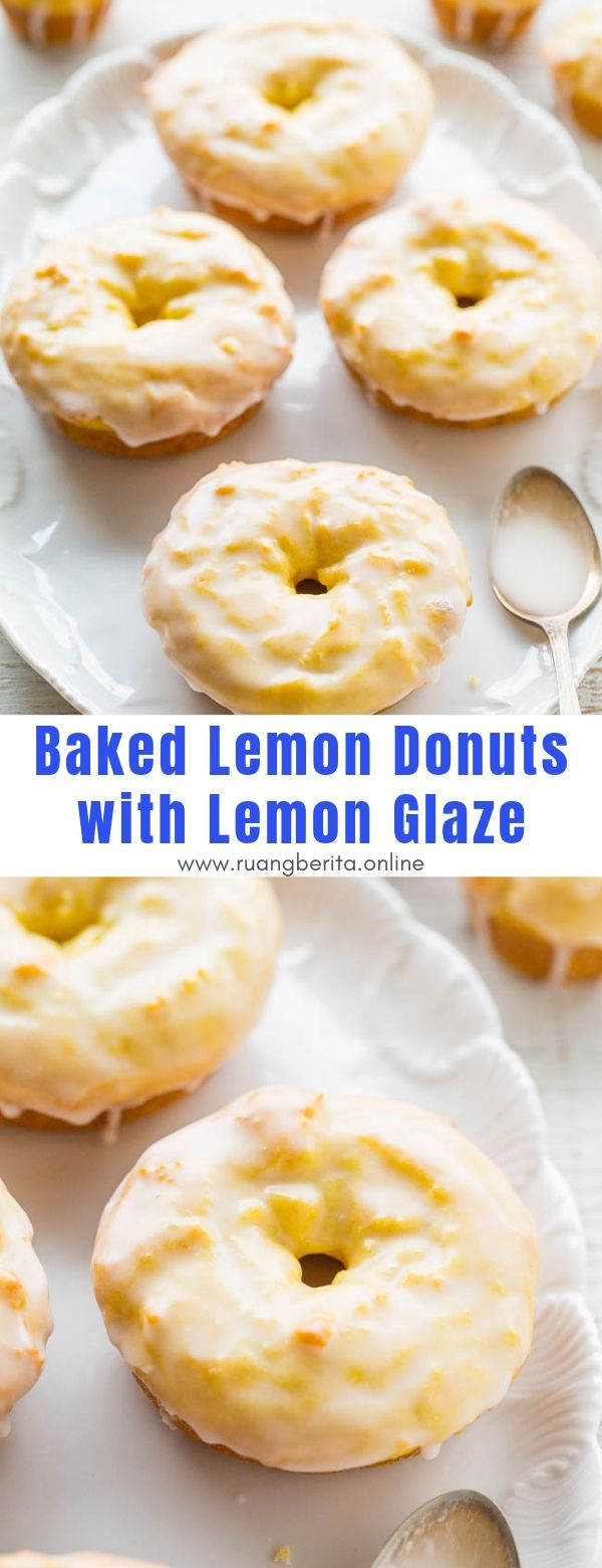 Baked Lemon Donuts with Lemon Glaze #dessert #snacks #baked #donuts #lemon #glaze