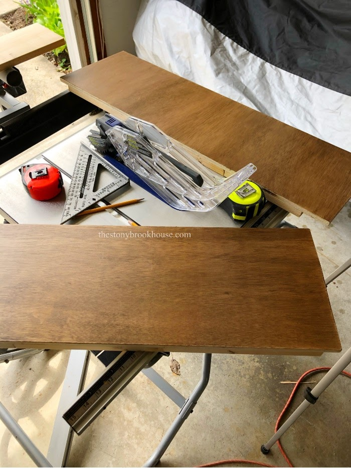 Staining Floating Shelf pieces