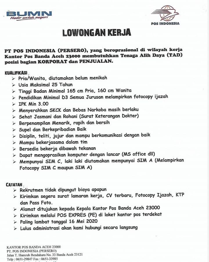 Lowongan Kerja Lowongan Kerja Pt Pos Indonesia D3 S1 Mei Tahun 2020