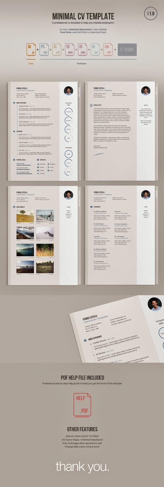 Minimal CV Template in Ai Format